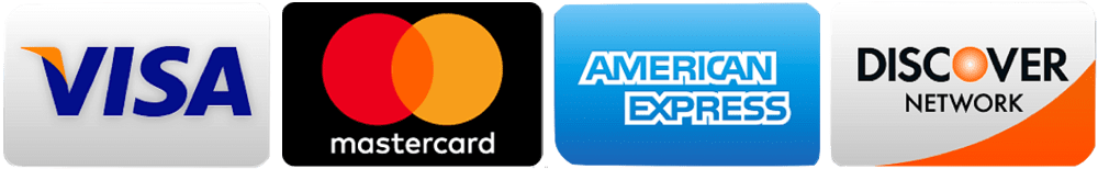 We proudly accept Visa, Mastercard, Discover and American Express